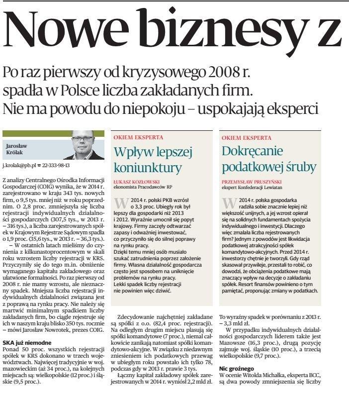 nowe firmy w Polsce w 2014 r