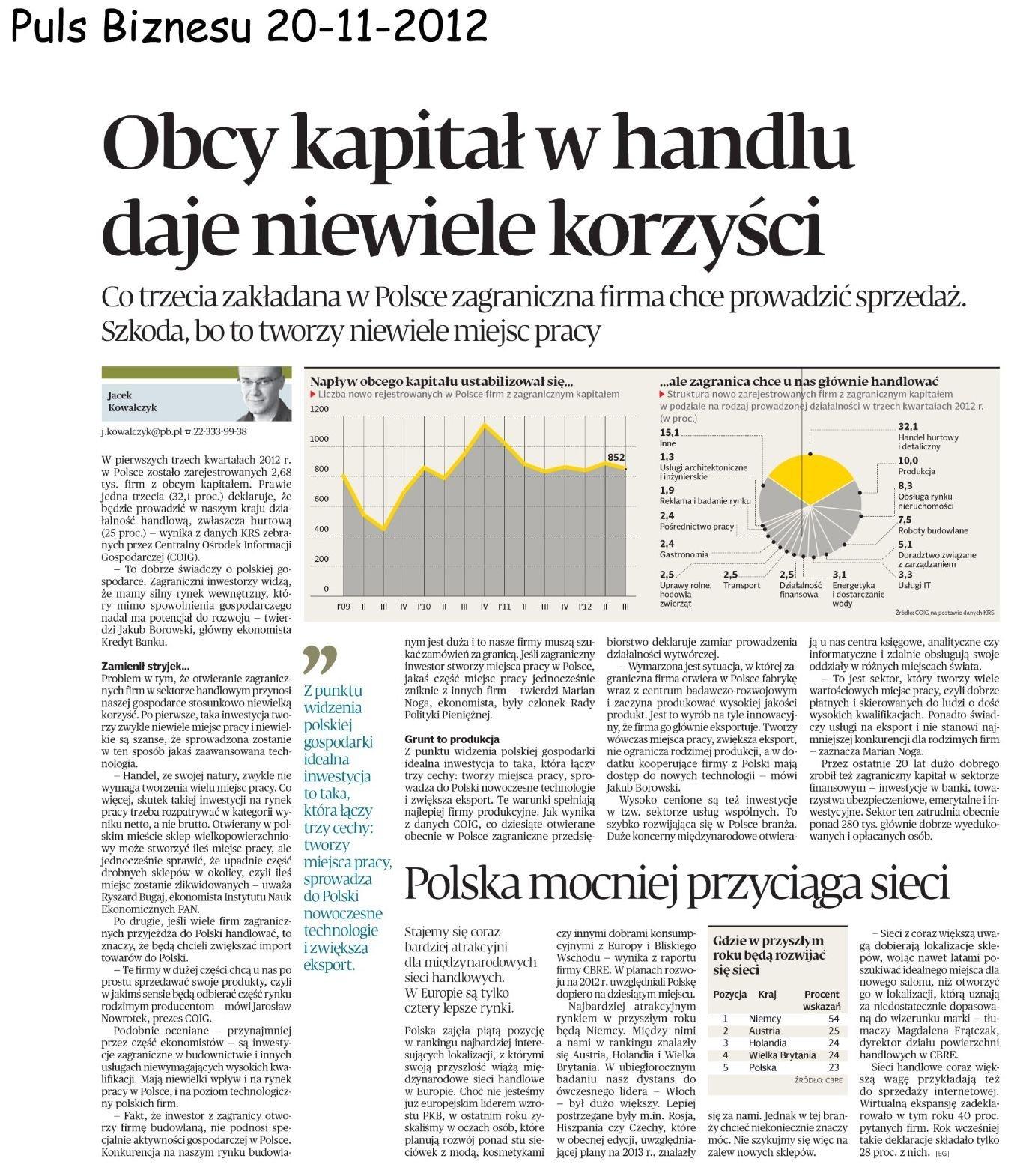 Inwestorzy zagraniczni w Polsce po 3 kwartałach 2012 roku