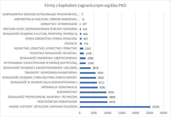 firmy z kapitałem zagranicznym w Polsce w 2020 r. wg klas PKD
