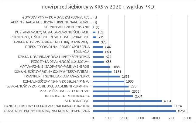 nowe firmy w KRS wg klas PKD sierpień 2020 r.