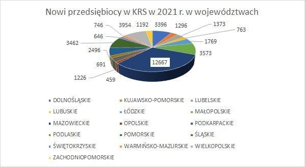nowe firmy w KRS w województwach 2021