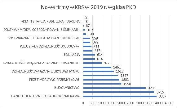 nowe firmy w KRS wg klas PKD czerwiec 2019 r.