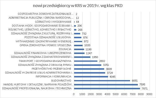 nowe firmy w KRS wg klas PKD grudzień 2019 r.