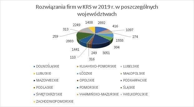 postępowania o rozwiązanie w KRS w 2019 r.