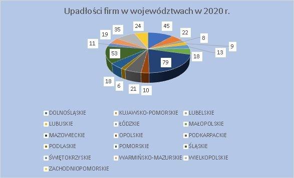upadłości firm w województwach lipiec 2020