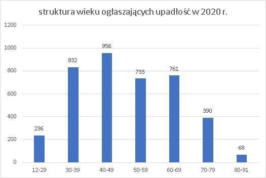 upadłość konsumencka struktura wieku czerwiec 2020 r.