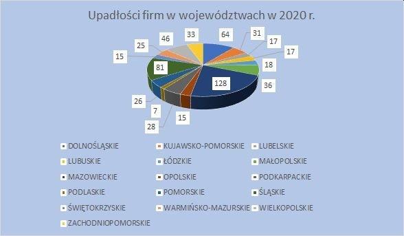 upadłości firm w województwach grudzień 2020