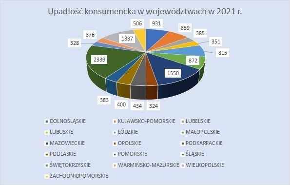 upadłość konsumencka w województwach 2021 r.