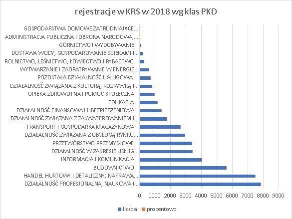 firmy z kapitałem zagranicznym w Polsce grudzień 2018 wg klas PKD