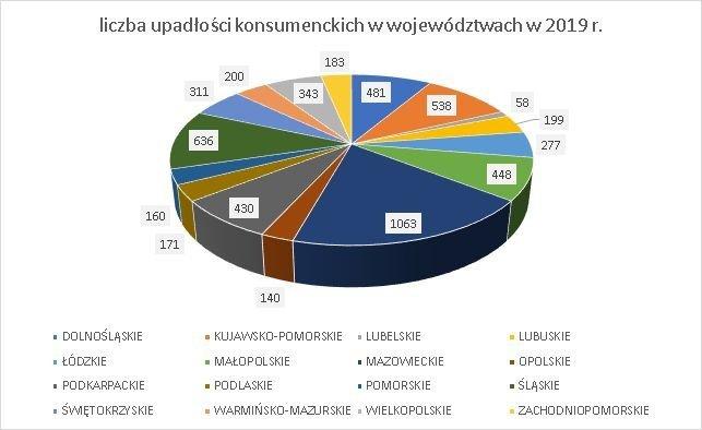 upadłość konsumencka 2019 według województwa
