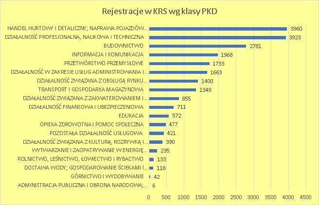 nowe firmy w KRS wg klas PKD czerwiec 2018 r.